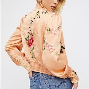 Free People Just Peachy Silky Embroidered Jacket